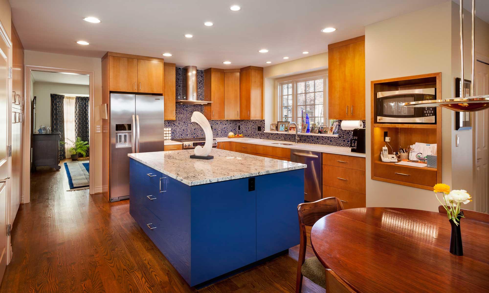 modern kitchen with blue cabinet